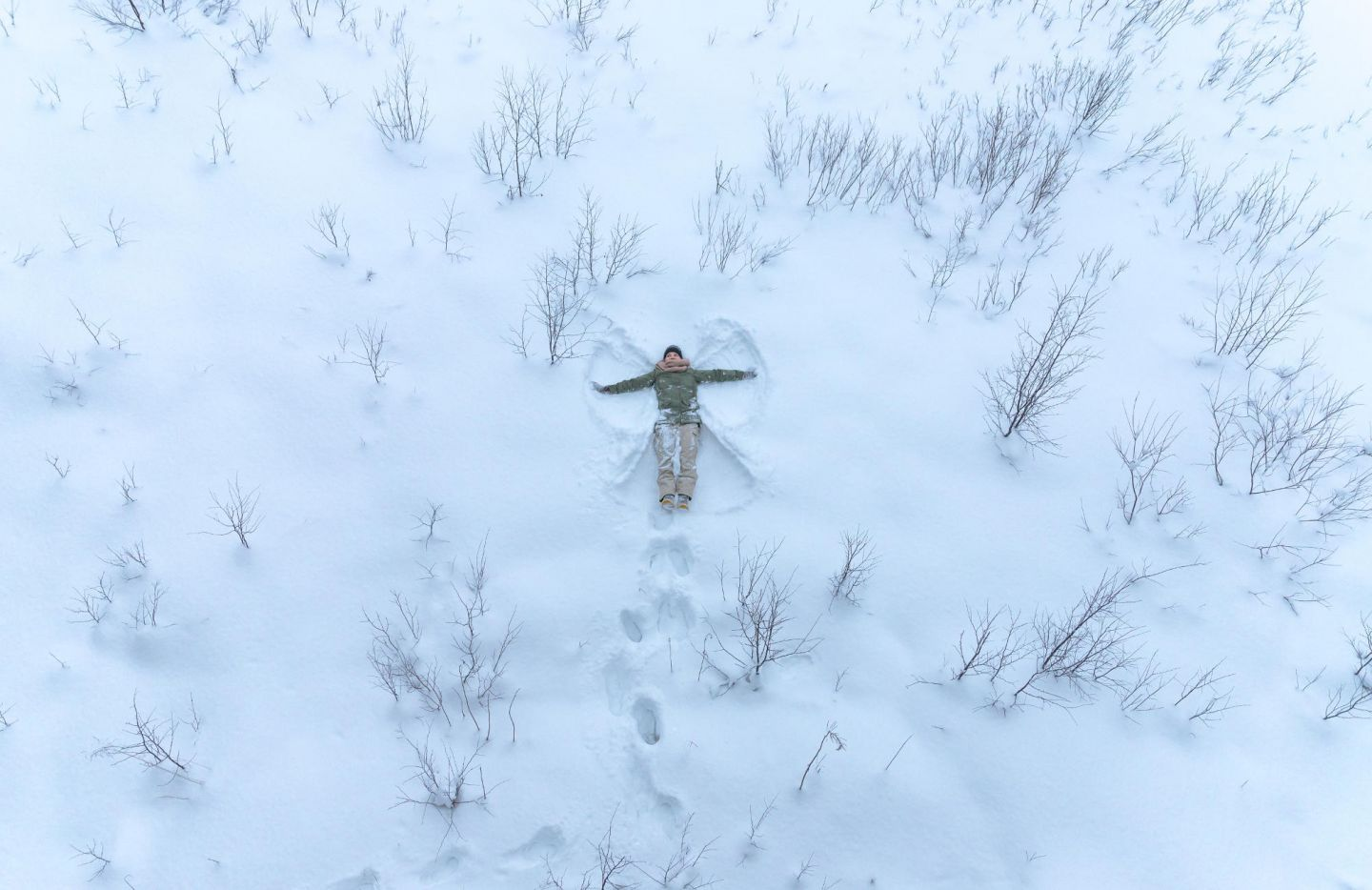 Snow Angel in Lapland field