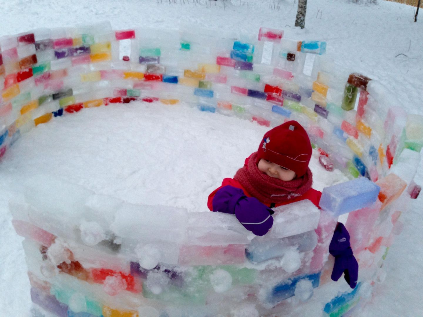 Color igloo made from colored ice