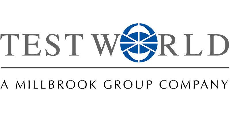 Logo for Test World, which offers film support services including ice and snow tracks