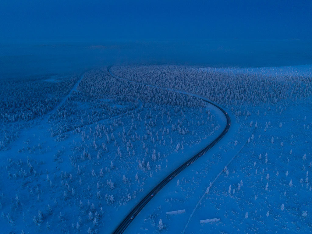 Night driving on a frozen snow track at Test World in Inari, Lapland