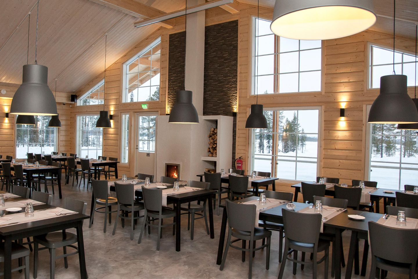 Inside the Levi rally center restaurant at Lapland Driving