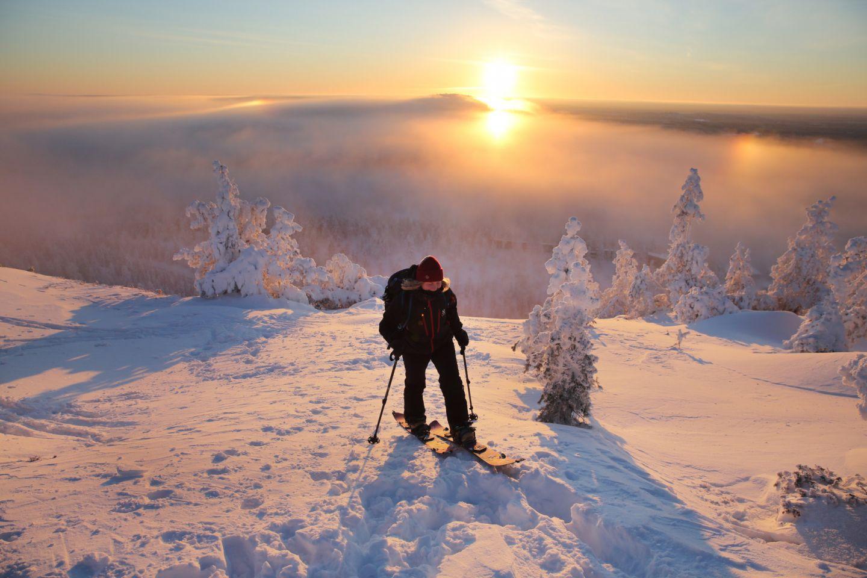 Sunset while skiing in Ruka-Kuusamo, FInland