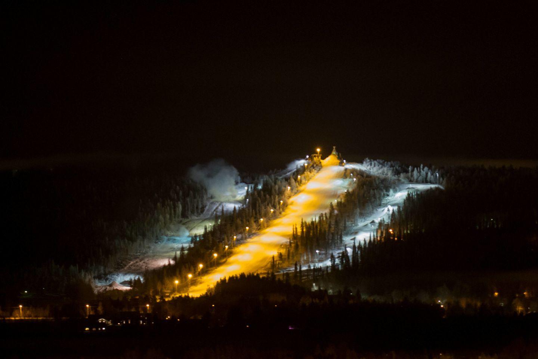 Ounasvaara Ski Resort in Rovaniemi, Finland at night