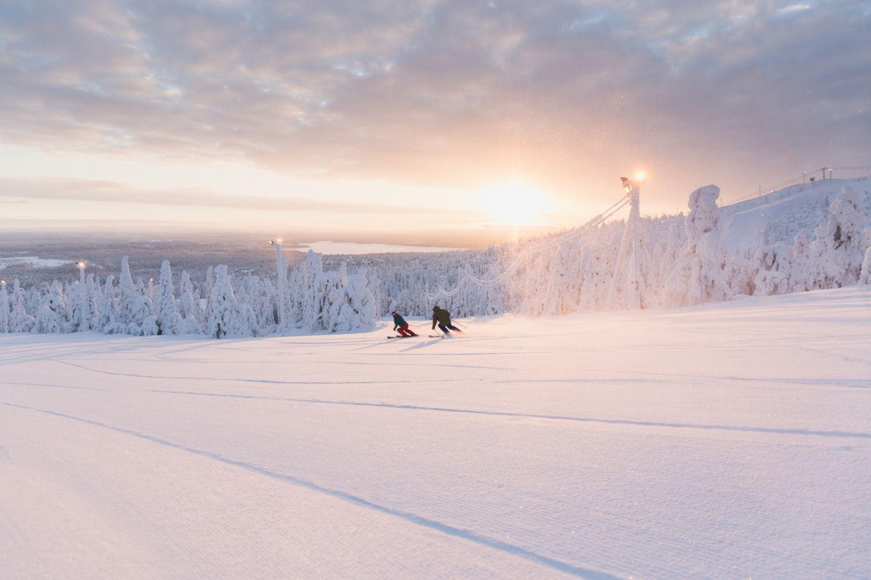 Skiing at sunrise in Ruka-Kuusamo, FInland
