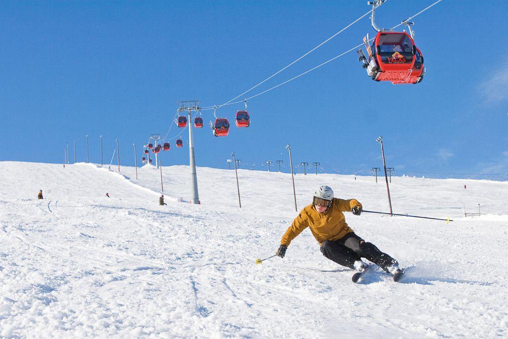 Downhill skiing at Ylläs, Finland's largest ski resort