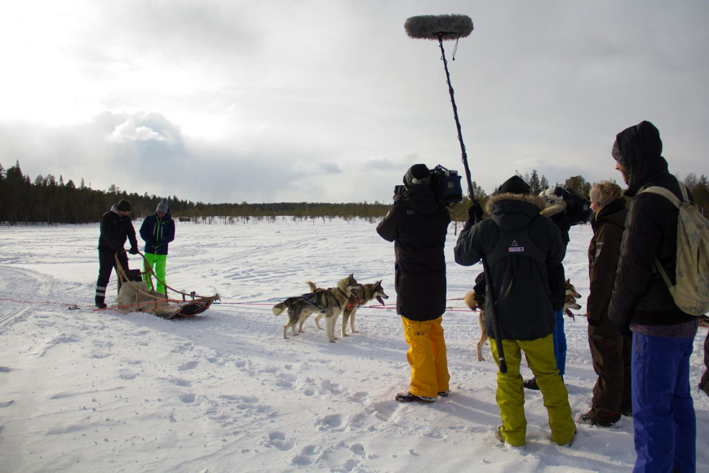Filming a husky ride in winter in Finland