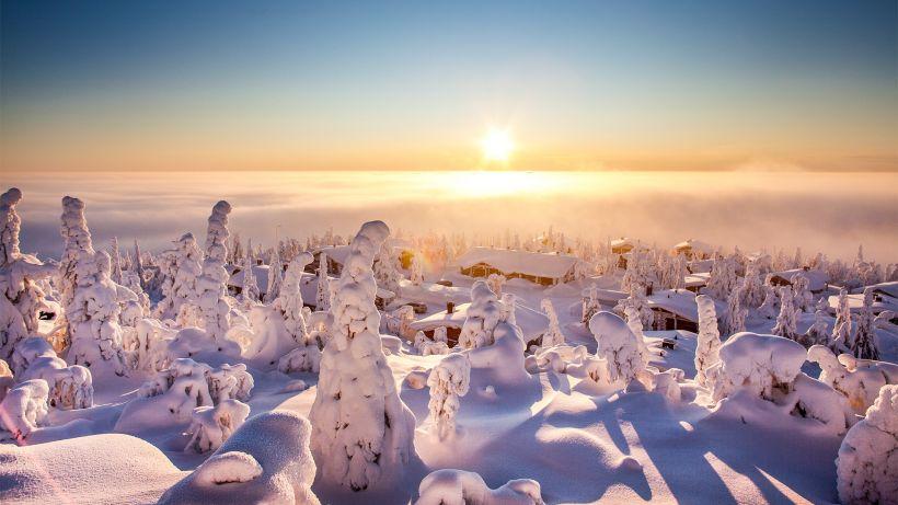Snow in Syöte, Finland in winter
