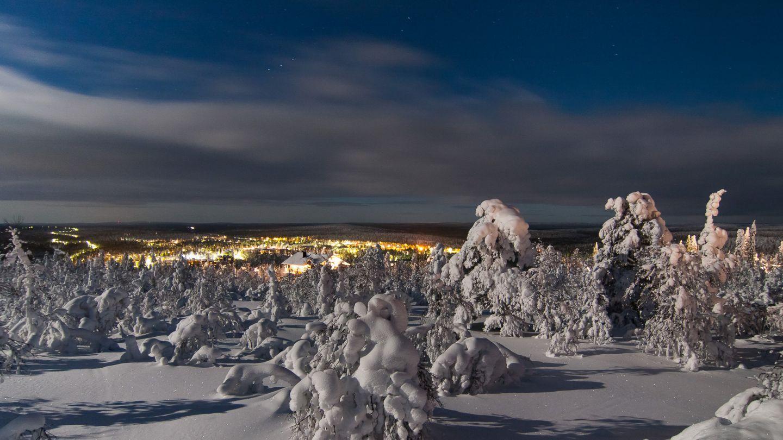 Saariselka holiday resort village in winter