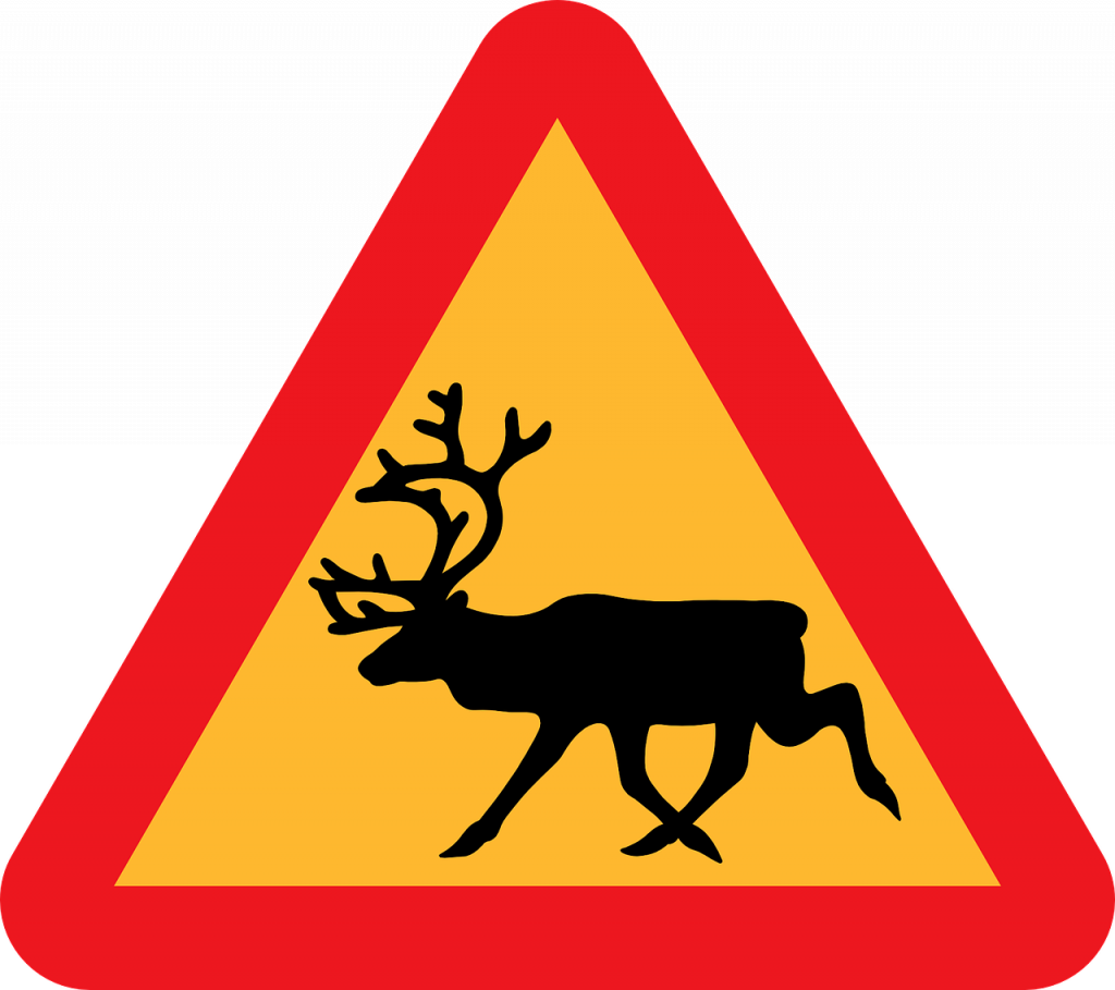 Reindeer sign in Lapland