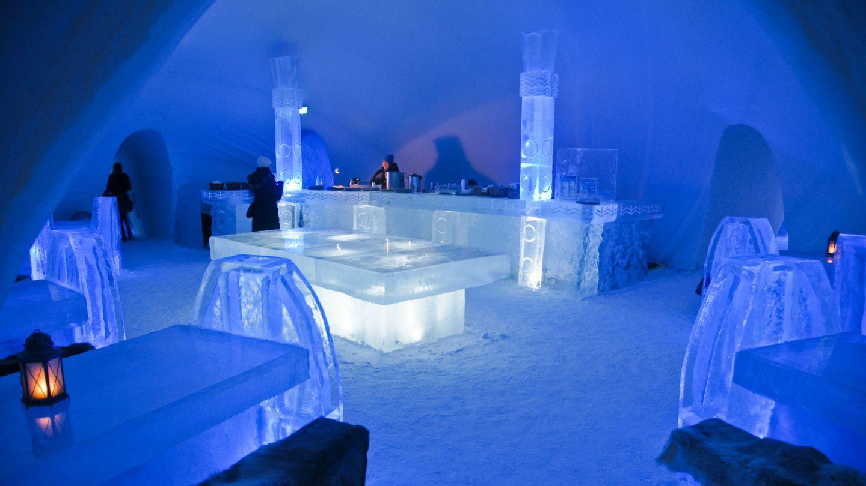 Inside the snow castle in Kemi, Finland