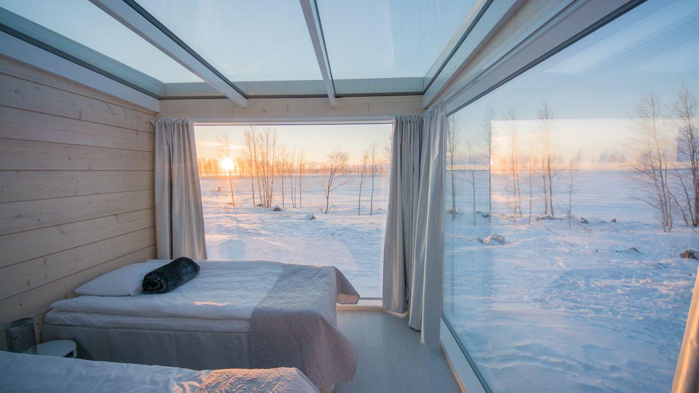 Seaside glass villa rooms in winter in Kemi, Finland