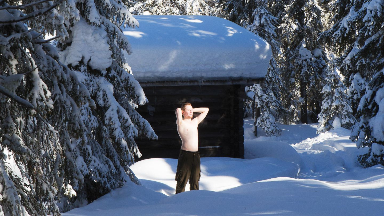 Sunbathing in Lapland winter sun