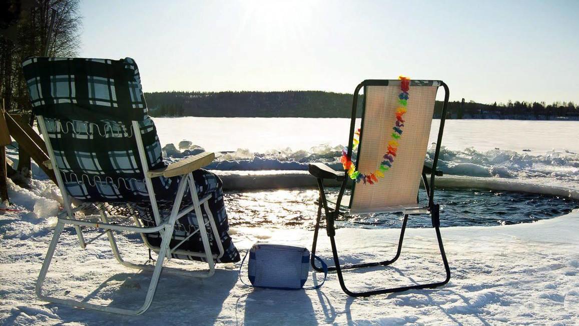 Sunbathing in winter in Lapland