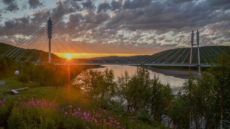 Midnight sun in Utsjoki Lapland