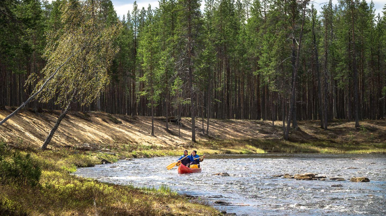 River canoe in summer, Inari Saariselka