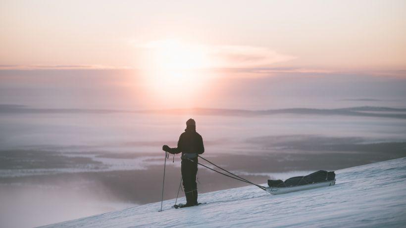 Atop the hills in Muonio in Lapland, Finland