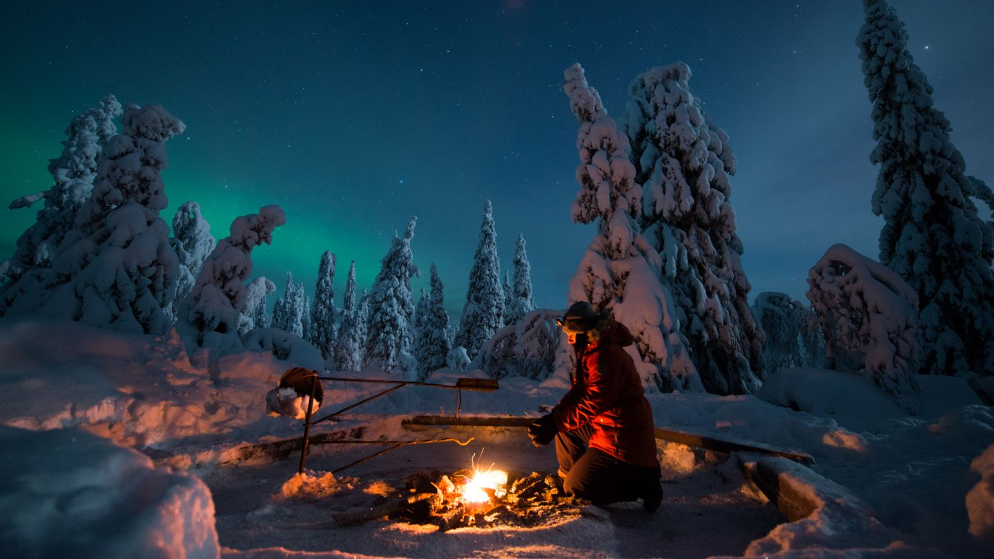 Winter holiday campfire in Posio Finland