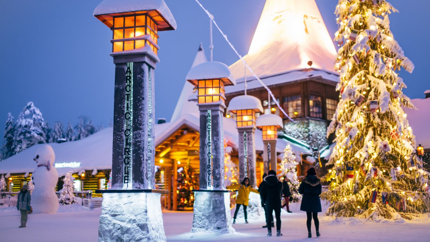 Santa Claus Village during Polar Night in Rovaniemi, Finland