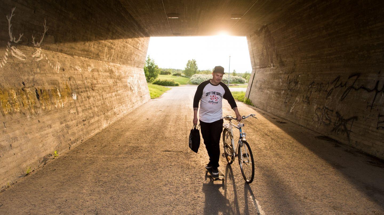 Cyclist in summer in Rovaniemi, Finland