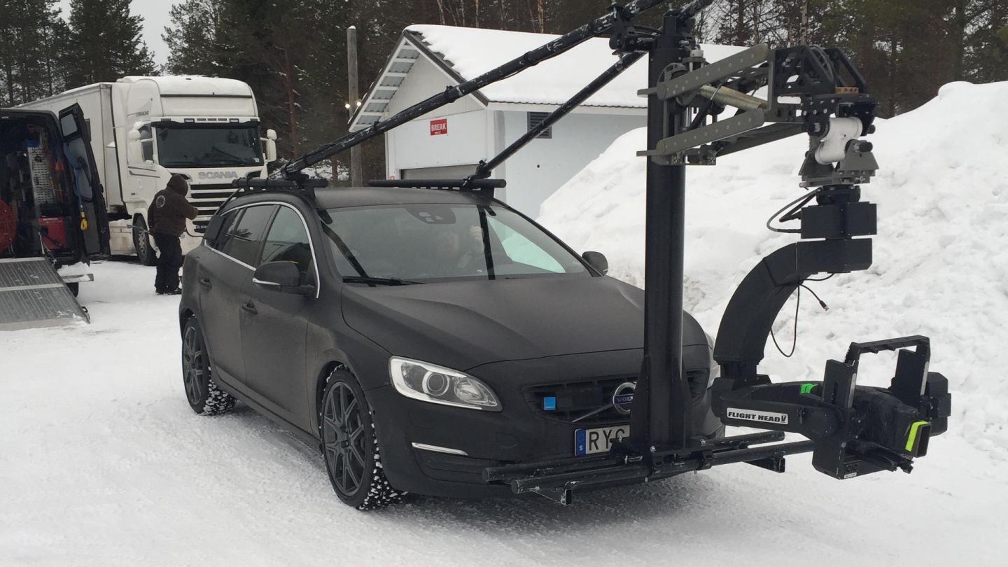The car rig during a commercial shoot for Shell Helix Ultra, on location in Finnish Lapland
