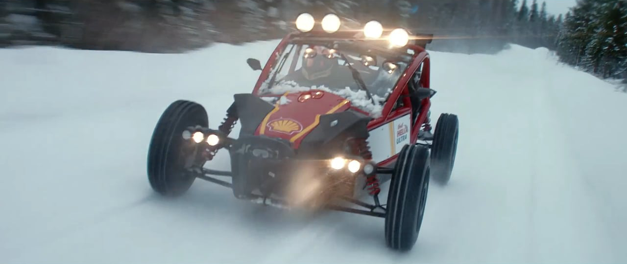 Racing across the snow during a Shell Helix Ultra commercial