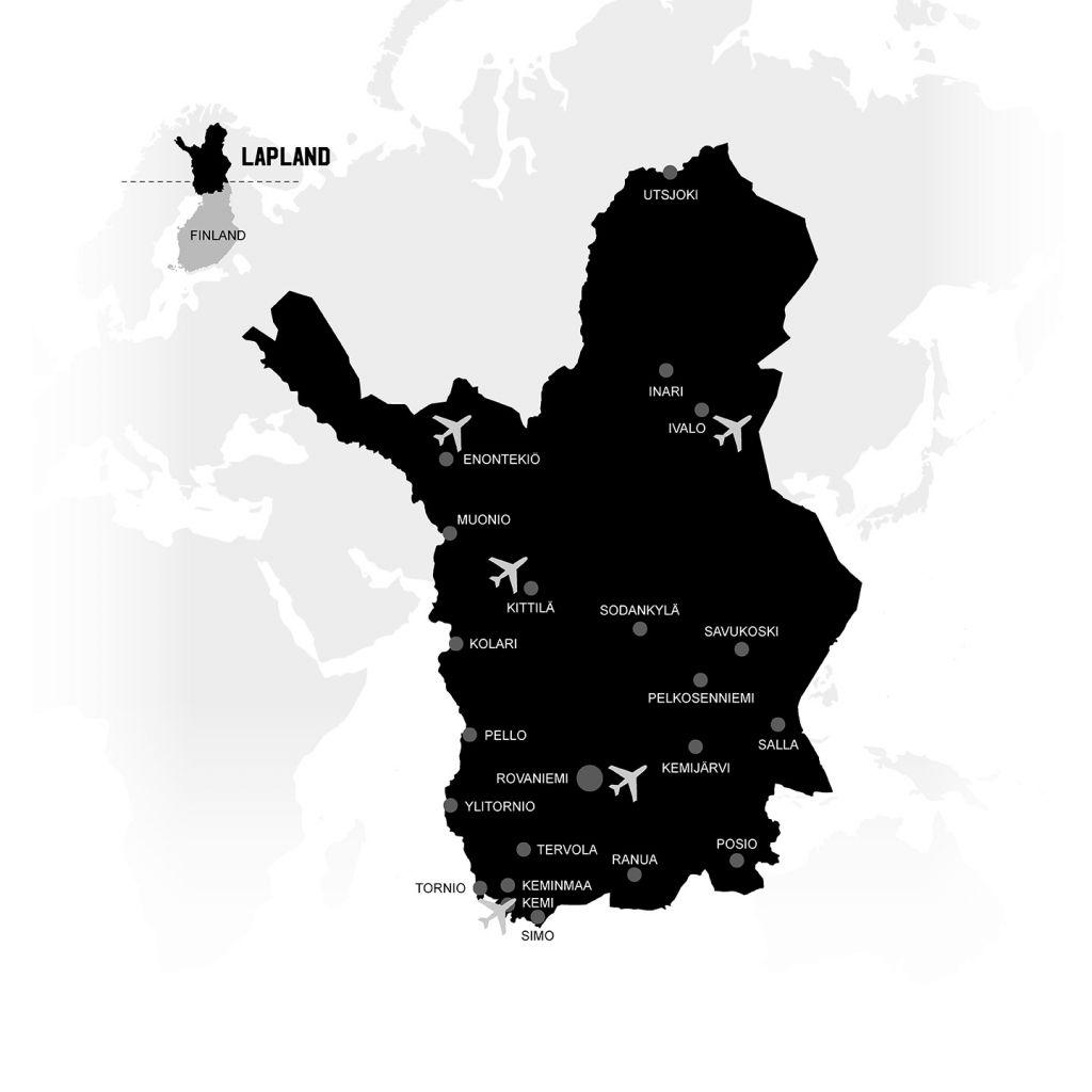 Lapin kartta uuden asuinpaikan valintaan Lapissa