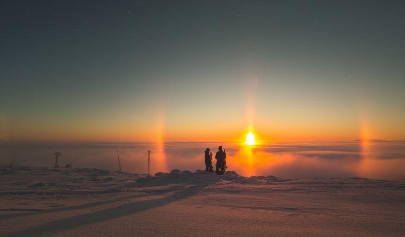 Winter halo in Levi, Finland
