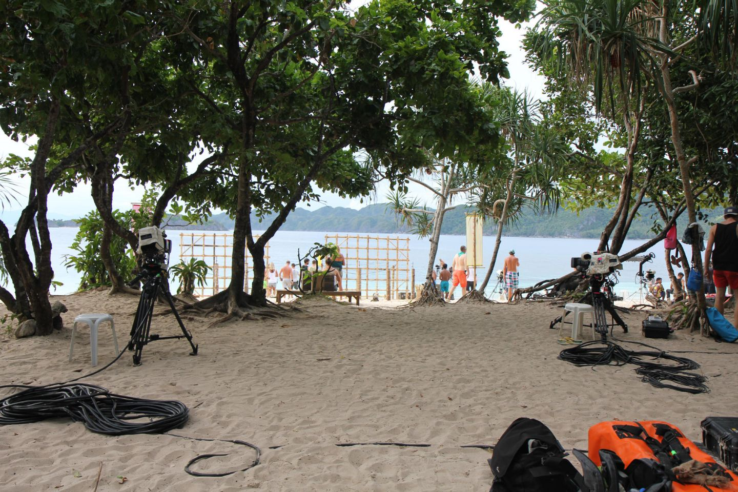 on the set of Survivor in the Philipines