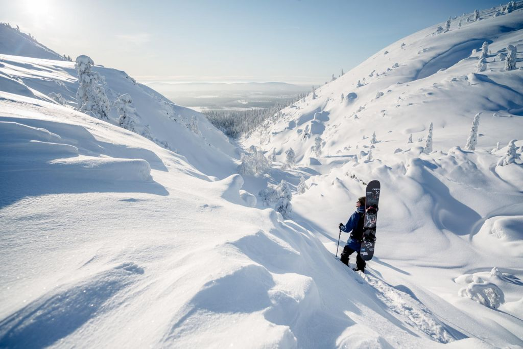 snowboarding on the Arctic fells in winter