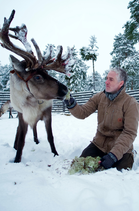 Gordon Buchanan with a reindeer
