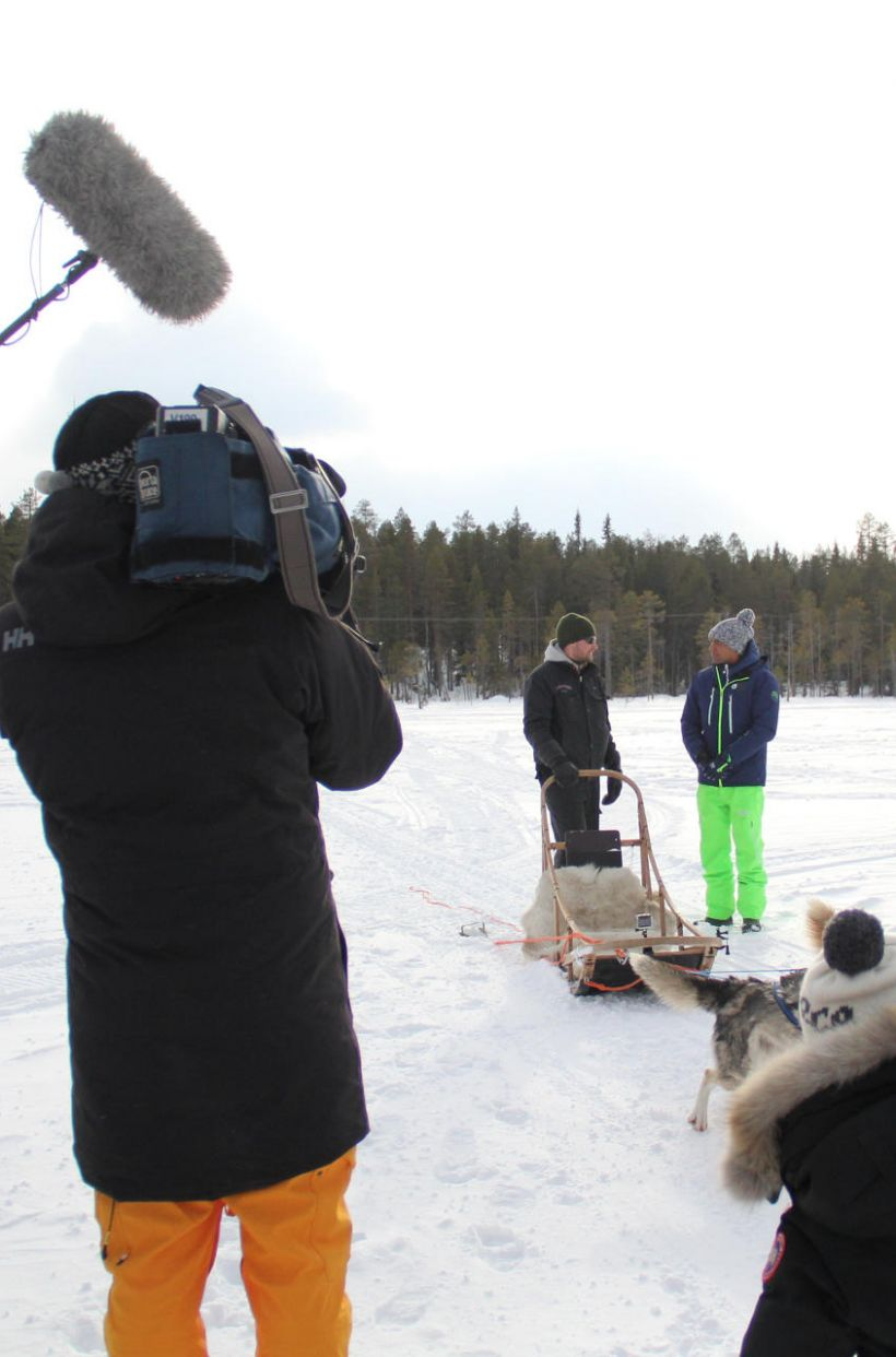 Filming in Lapland in winter