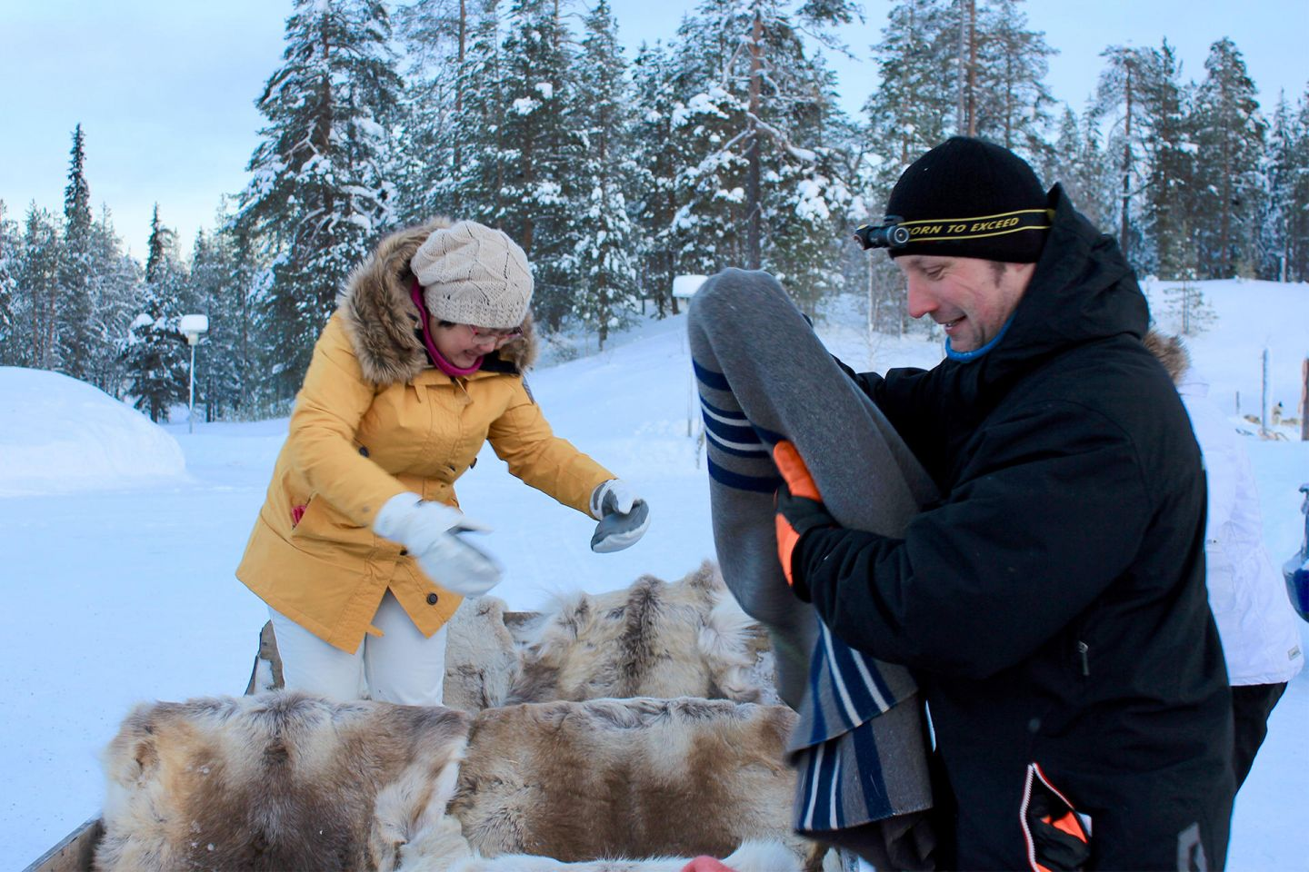 Jarko and customer at the Salla Reindeer Farm in Lapland