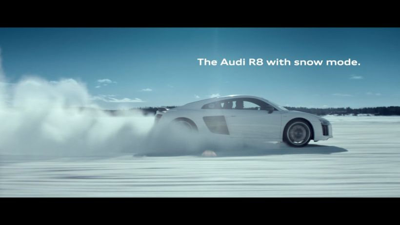 The Audi R8 with snow mode