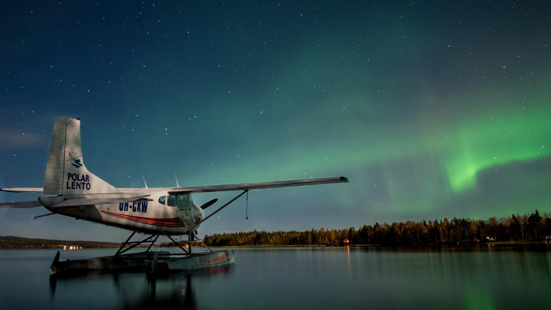 seaplane under the Nothern Lights | film production services