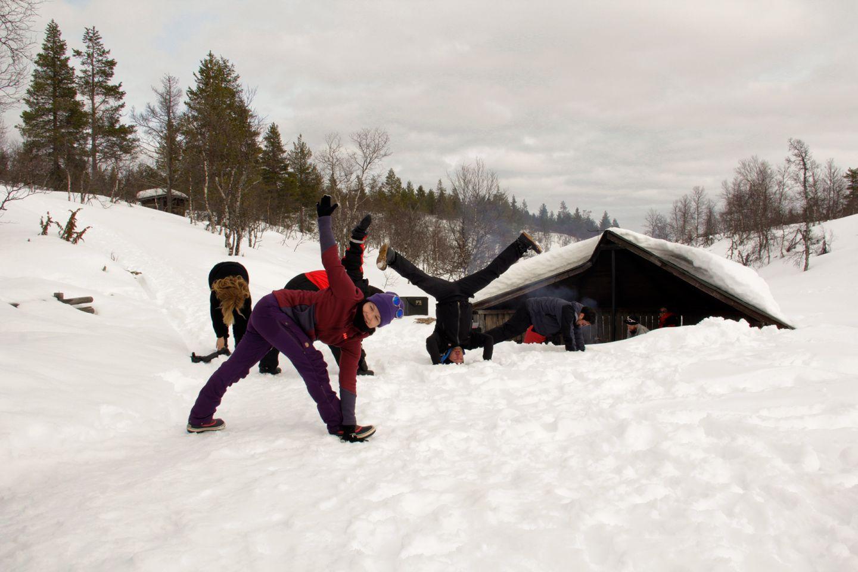 Having fun in the snow, during Film Lapland Fam Tour 2018