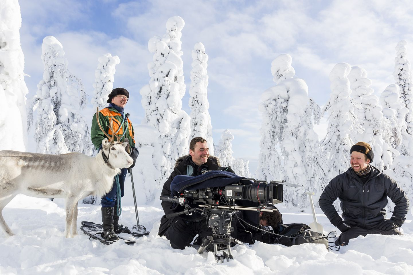 Filming crew with Ailo | Production A Reindeer's Journey Lapland