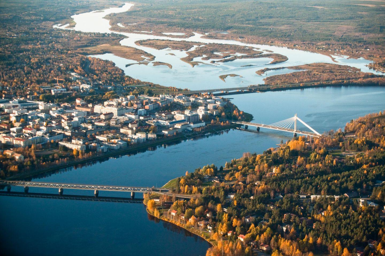 Rovaniemi, Finland, city by drone