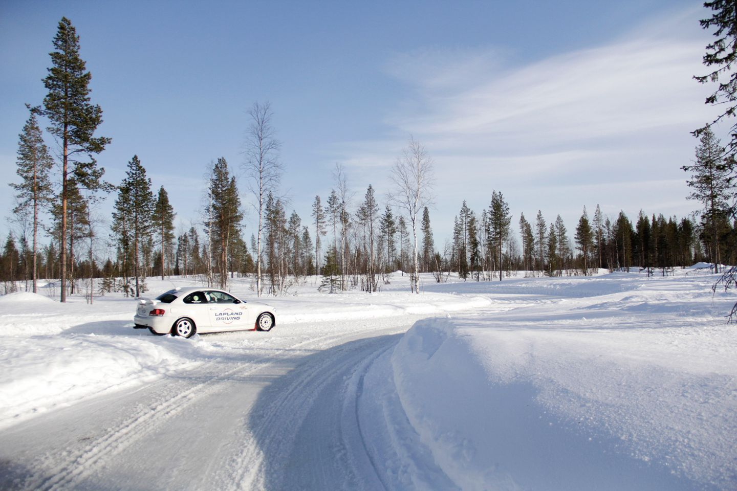 Driving on a snow track in Levi, during Film Lapland Fam Tour 2018