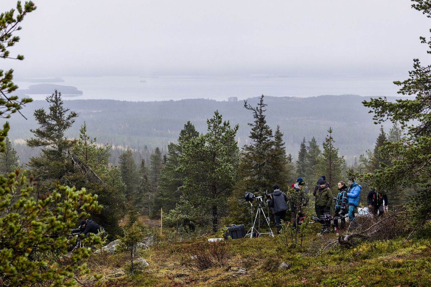 A Reindeer's Journey crew in Lapland wilderness