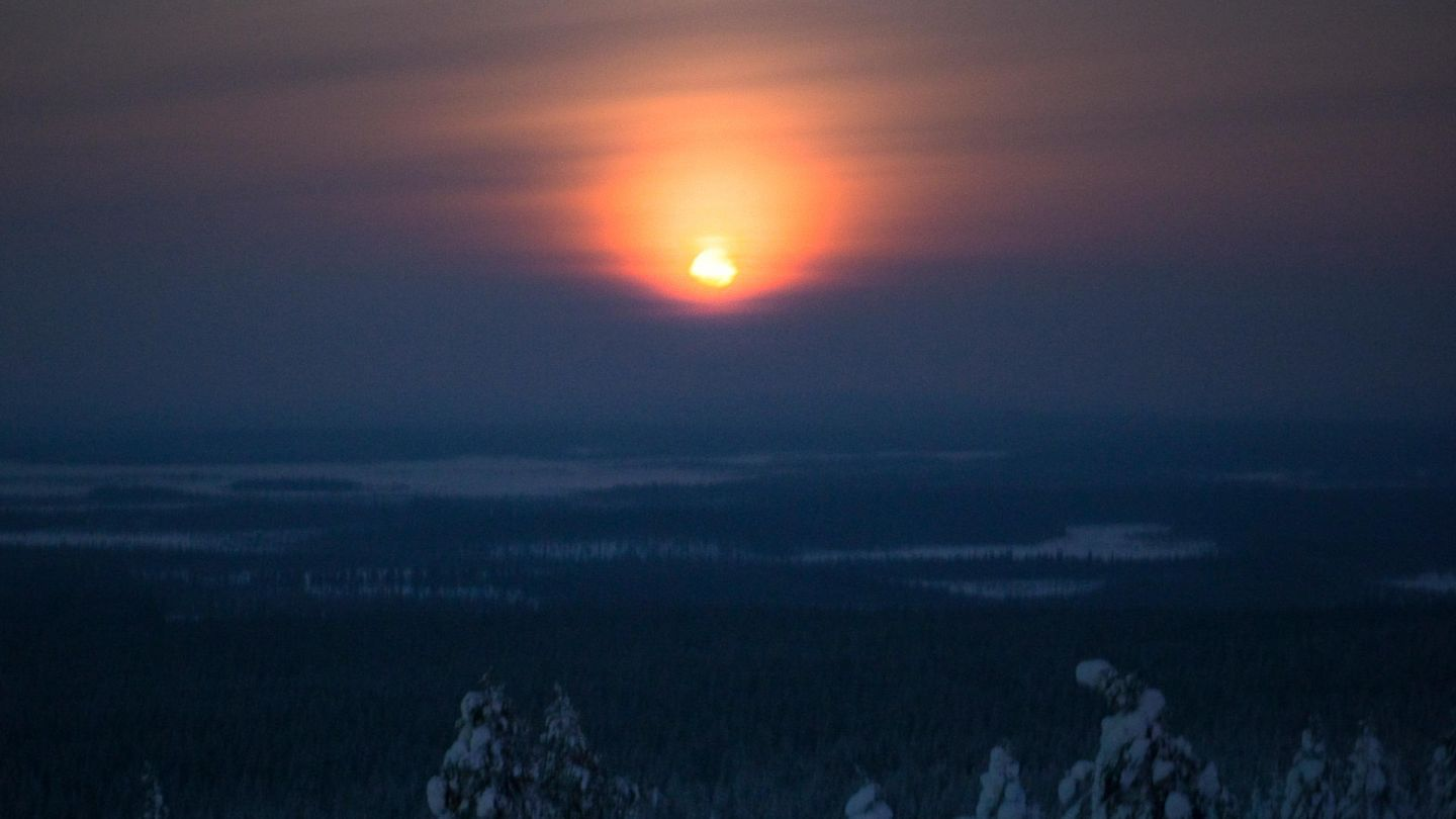 the Finnish sun in winter, captured from drone