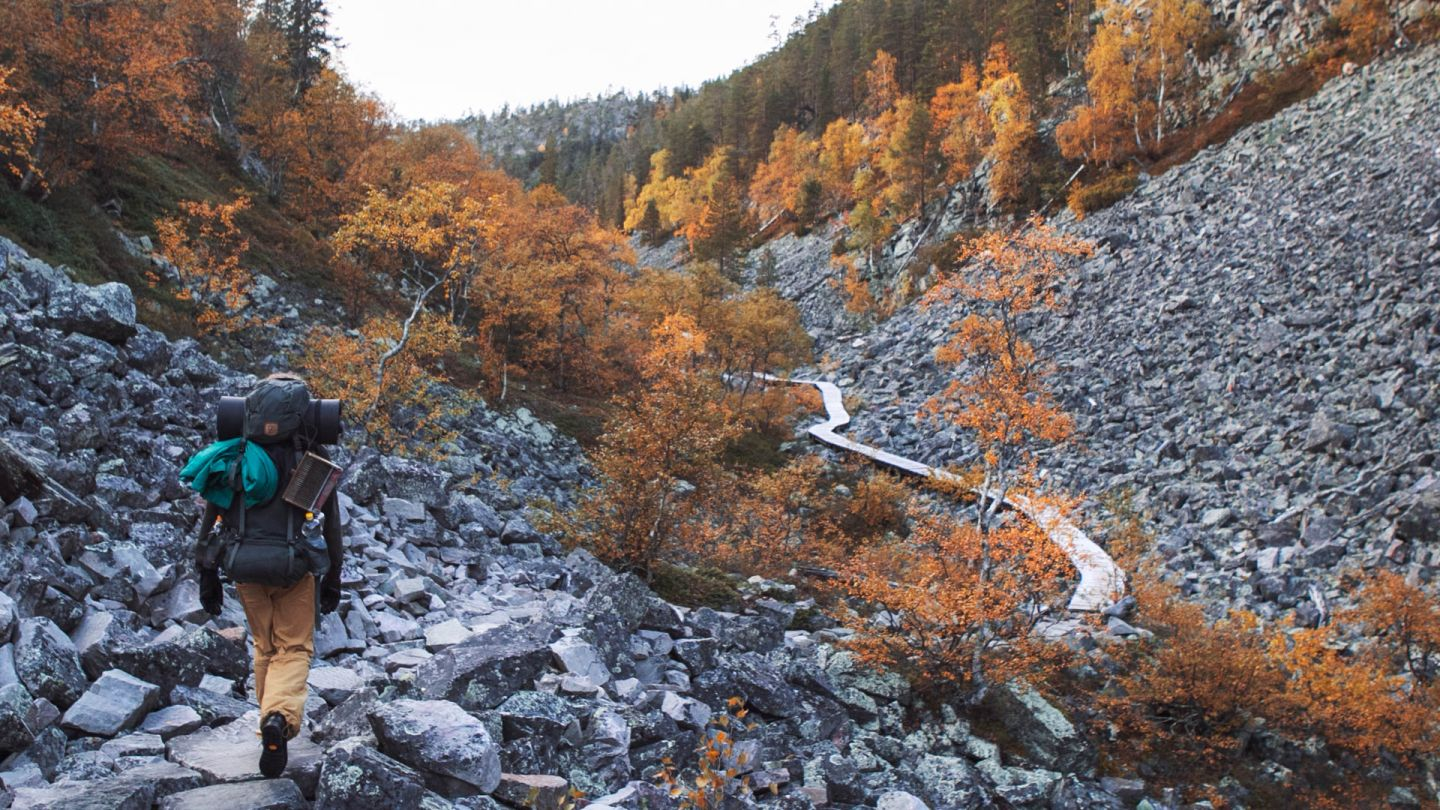 Hiking at Lapland during fall colors