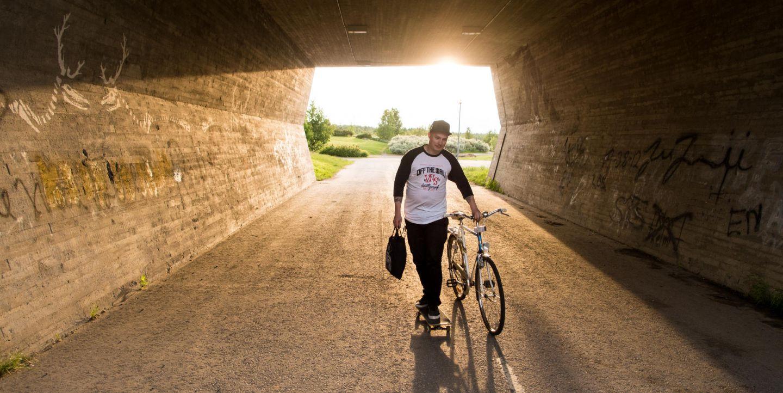 cyclist in underpass in Rovaniemi