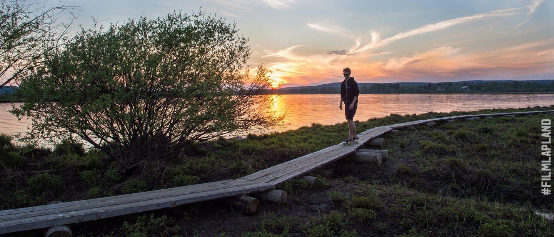 duckboards through Rovaniemi wilderness in Lapland