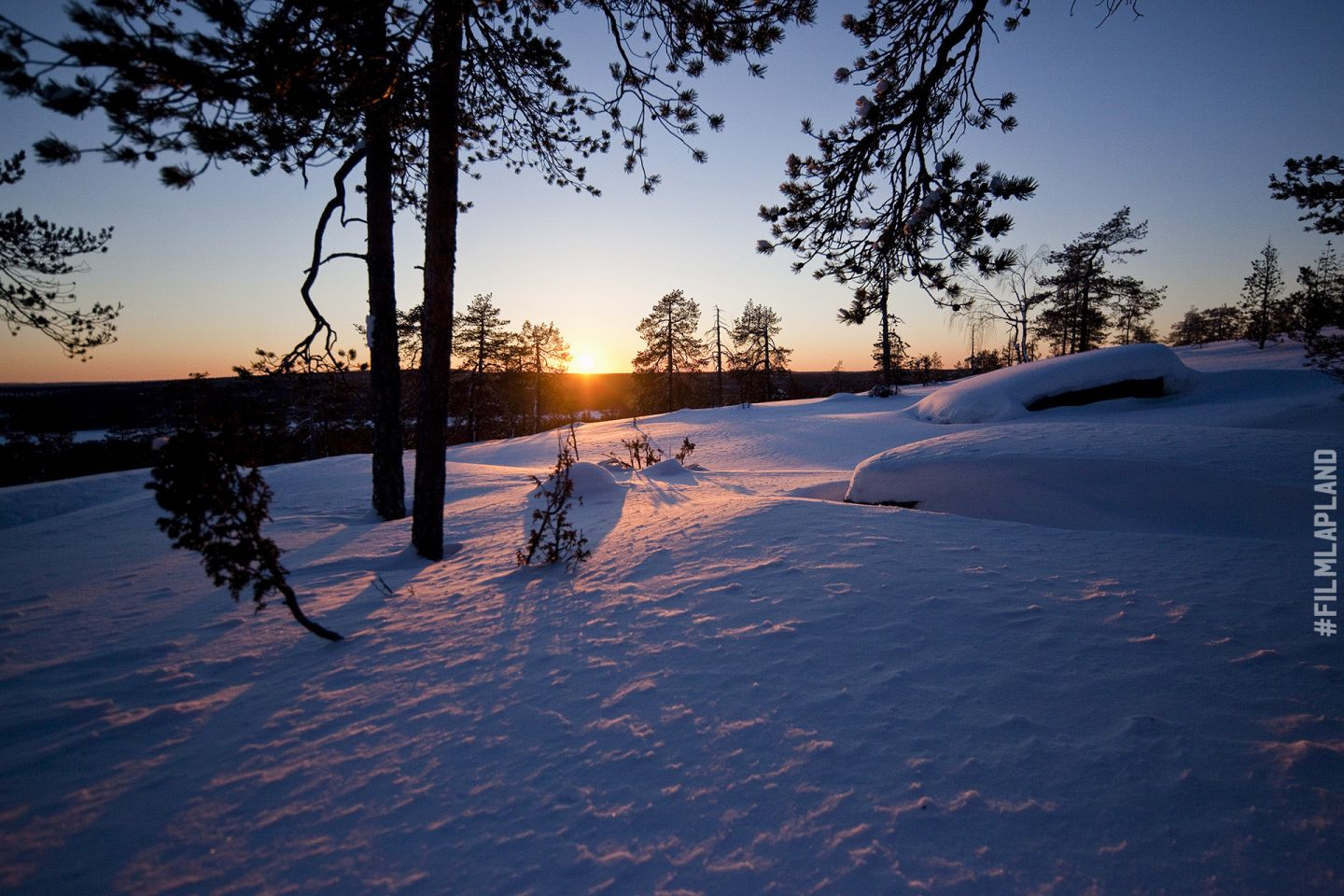Sunset and snowy field in Rovaniemi, Finland