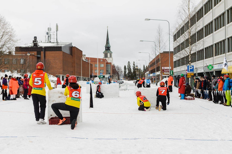 Happy winter event in Kemijärvi city center in Lapland