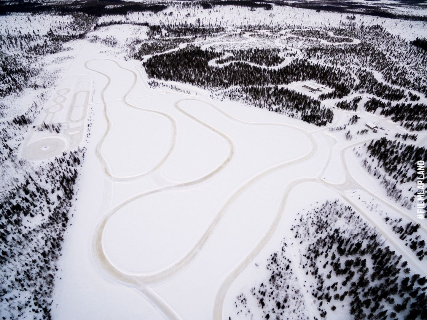 Snow driving tracks in Kittilä, Finland
