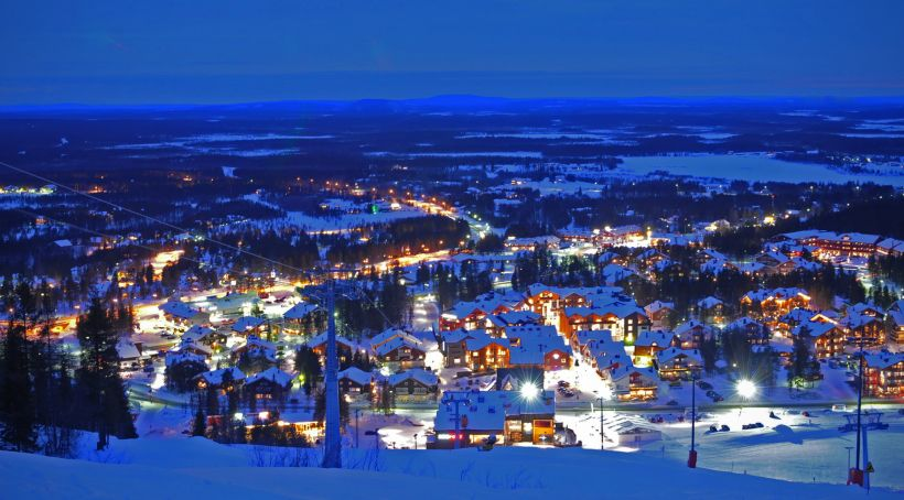 Arctic village in a darkening night in Levi Kittilä, Lapland