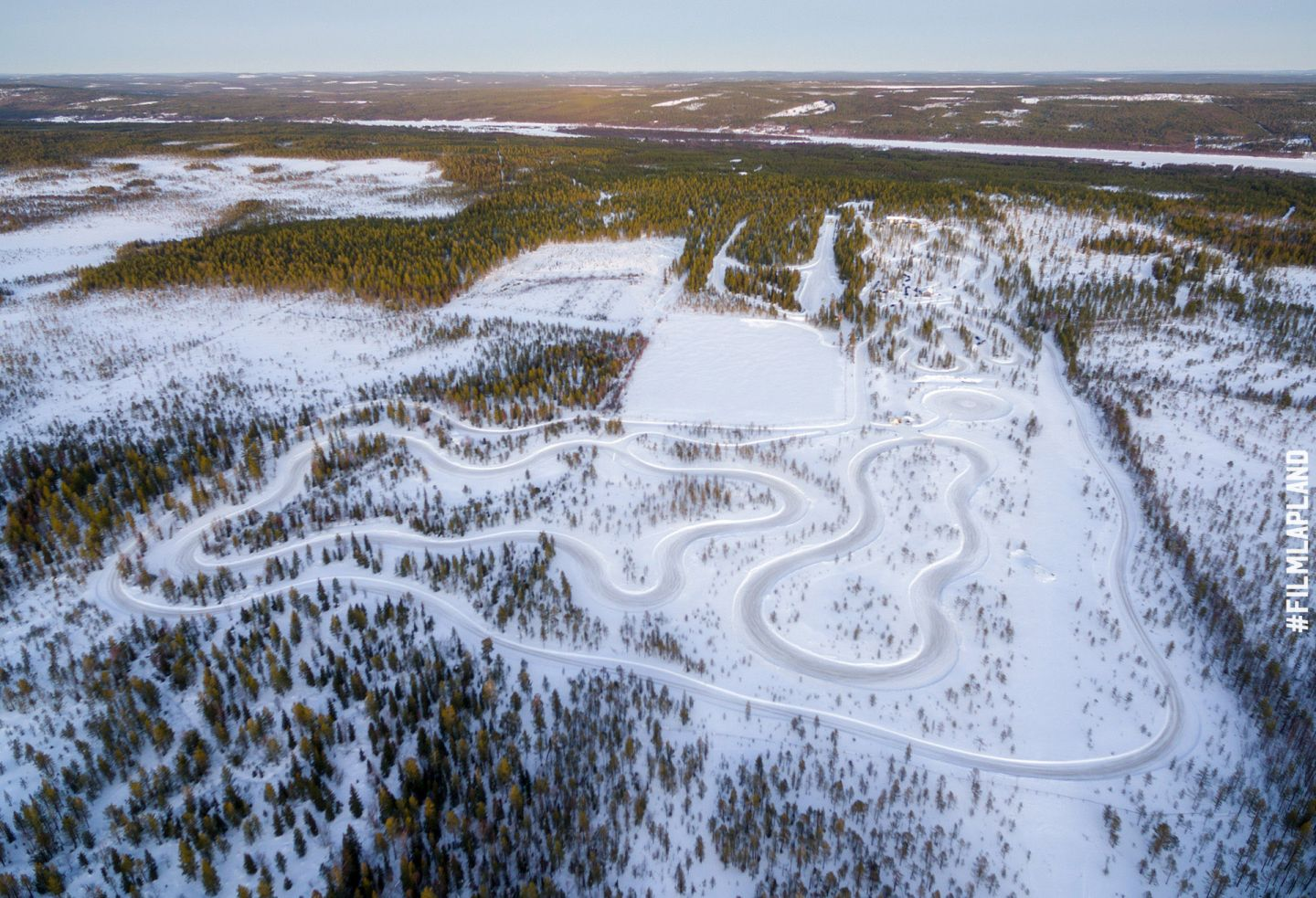 Snow driving tracks in Rovaniemi, Finland