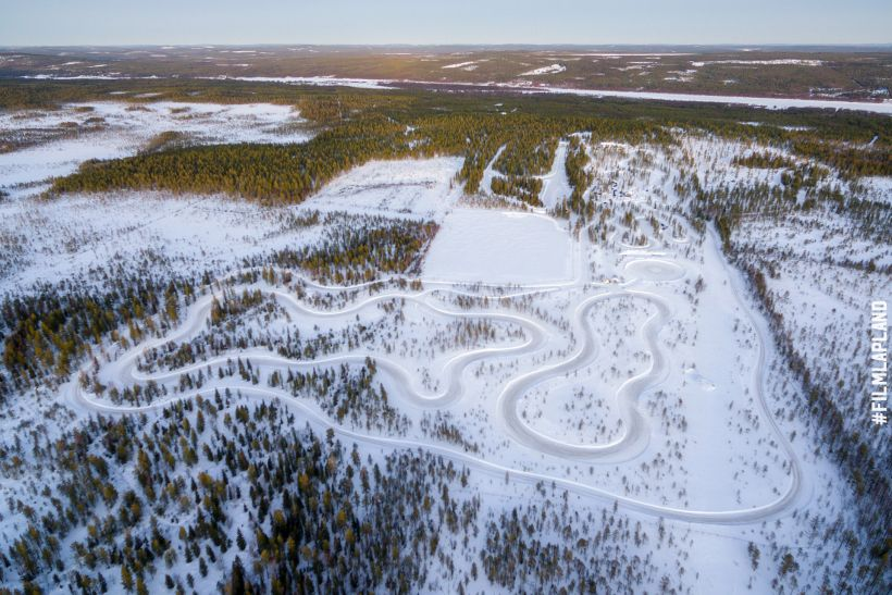 Snow driving tracks in Rovaniemi, Finland