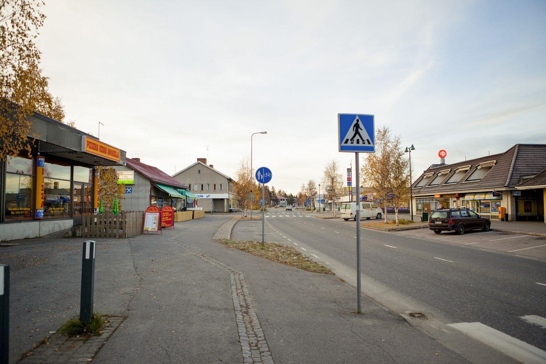 Main street in Sodankylä center in Lapland